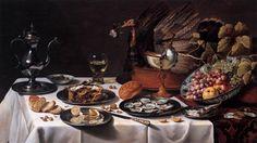 """""""Still-life With Turkey Pie""""  --  1627  --  Pieter Claesz  --  Dutch  --  Oil on wood  --  Rijksmuseum  --  Amsterdam, Netherlands"""