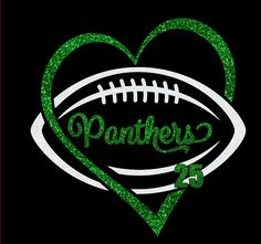 Custom Football Heart Shirt, Long sleeves, Sweatshirt, Hoodie - personalize for team name (Panthers shown), team colors and player number!