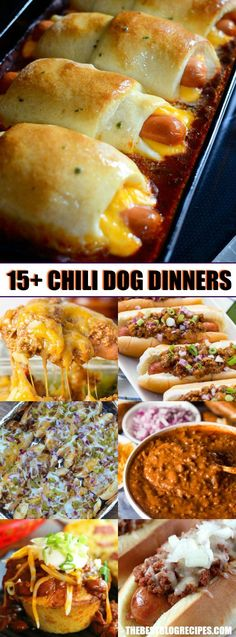 These 15+ Chili Dog Dinner Recipes are easy to make dinners that are hot, cheesy, budget friendly, and delicious -- your family will really love them! via @bestblogrecipes