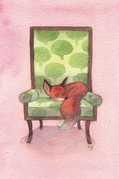 Drawing of red fox sleeping