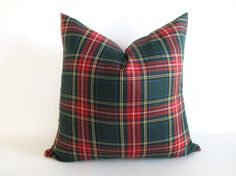 Pillow Cover Green Stewart Tartan Plaid by theCottageWorkroom