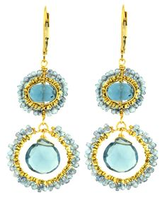 Dana Kellin Blue Quartz Double Drop Earrings