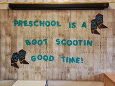 Western Theme, Back to School, Preschool Bulletin Board Ideas, Mrs. Cowboy Bulletin Boards, Back To School Bulletin Boards, Preschool Bulletin Boards, Preschool Classroom, Future Classroom, Classroom Themes, Cowboy Theme, Western Theme, Wild West Theme