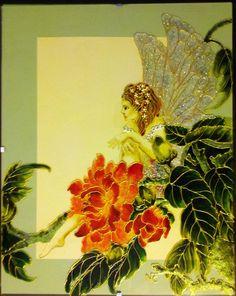 """Tableau peinture sur verre """"HIBISCUS FEERIQUE"""" : Vitraux par mamycole"""