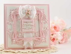 Card making ideas by Becca Feeken using JustRite Heirloom Flourish 2 and Ribbon and Swags Vintage Labels Seven