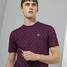 Navy/Red Japanese Reed Print Lacoste Live Ultra Slim T Shirt
