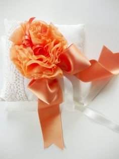 Orange blossom wedding ring pillow orange and white rich by Lovalu, $70.00