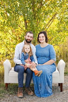Fall Family Photo Session - Autumn - Billings - Norm's Island - Trees - Grass - Bench - Sitting - Mom - Mother - Dad - Father - Daughter - Kid - Pregnant - Maternity - Blue Dress - Jeans - White Dress Shirt - Jean Jacket - Pink Dress - Brown Boots - Montana Family Photographer - Sara Nagel Photography Jean Shirt Dress, Jeans Dress, Pink Dress, Blue Dresses, White Dress, Fall Family Photos, Couple Photos, Family Photo Sessions, Father Daughter