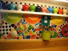 Loving this!  so different...Colorful backsplash
