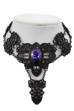 189bb216708 Gothic Beauty Rose Cameo Black Matte Metal Filigree Choker Necklace