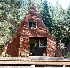 Cabins at the Caldera Arts Center by Sarah Abbott. (A-Frame) (tiny houses)