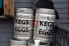 Comedy Central hosted a Kegs and Eggs brunch at South by Southwest in Austin, Texas, in March. Kegs bearing the event logo and hashtag severed both decor and functional purposes, even serving as the base of a DJ booth.  Photo: Nadia Chaudhury/BizBash