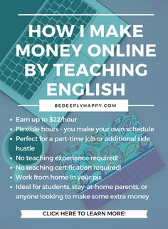 I make money online and work from home.  Learn how I teach english online and apply today for this remote work side hustle #sidehustle #makemoneyonline #workfromhome #girlboss