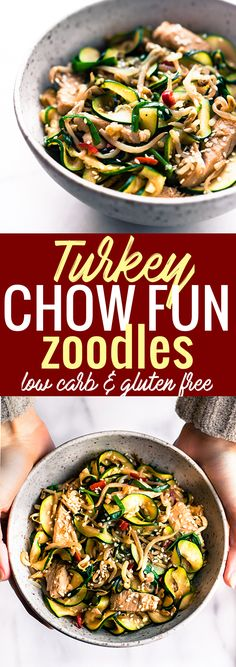 A Turkey Chow Fun recipe made with tamari zoodles! This spiralized zucchini turkey chow fun stir fry is light, naturally gluten free, and lower in carbs. A chow fun recipe that puts those leftover veggies and Turkey to use. Quick to make and delicious! www.cottercrunch.com @cottercrunch