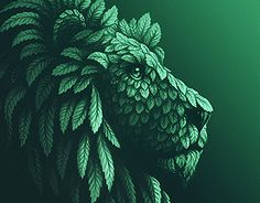 Mint lion illustration by Sergey Kovalenko. Really awesome Gifs, Logo Lion, Free Iphone Wallpaper, Green Logo, Cool Animations, Leaf Art, Visual Communication, Digital Illustration, Photo Art