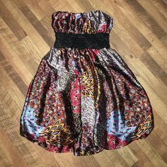 Multi-colored dress Very colorful, strapless dress! Worn once. Body Central Dresses Mini