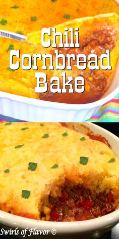 Chili Cornbread Bake is an easy recipe that will certainly become a family favorite. A saucy homemade chili is smothered with a cheesy creamy cornbread topping and baked until hot, bubbly and golden! The perfect comfort food dinner on a chilly evening. Chili Cornbread Casserole, Casserole Recipes, Jiffy Cornbread Recipes, Beans And Cornbread, Potato Casserole, Chicken Casserole, Casserole Dishes, Mexican Food Recipes, Meat Recipes