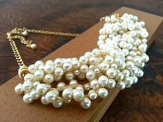 Bridal Pearl Necklace Statement Wedding by PearlJewelryNecklace, $82.00