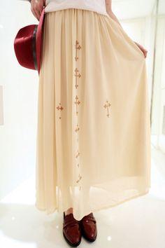 Cross Print Ankle Length Skirt - OASAP.com
