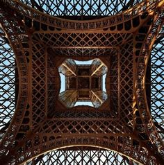 Eiffel Tower,Champ de Mars in Paris. Okay I didn't ever even consider that it might look like THIS from underneath. I have to go now.
