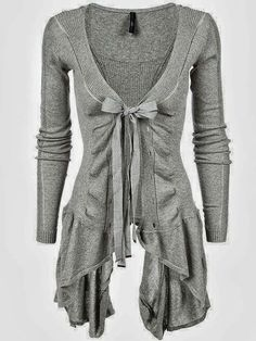 If this was in a different colour I'd definitely wear it~ Long Light Grey Cardigan Sweater