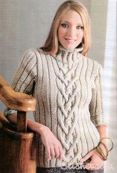 Женский бежевый пуловер вязаный спицами. Схема+описание