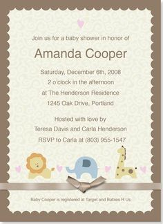Baby Shower Invitations - Baby Animals Shower Invitation