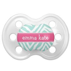 Mint & Hot Pink Zebra Stripes & Monogram Baby Pacifier