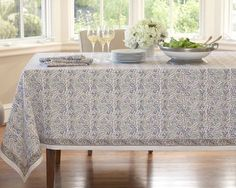 Floral Boutis Tablecloth, Blue, From Williams Sonoma