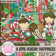 A Little Holiday Happiness is a cute and whimsical kit so perfect for scrapping a wide variety of holiday photos! It comes with coordinating alphas, styles, flairs, brushes and templates. Kit and additional add ons are available here: http://scraptakeout.com/shoppe/search.php?mode=search&page=1