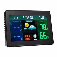 High Accuracy TS-71 Colorful LCD Digital Thermometer Hygrometer Weather Clock Alarm + 2 x Transmitter Black Hot Sale #Affiliate