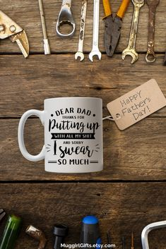 Gag gift, Fathers day gift, Appreciation gift, gift from kids Fathers Day Mugs, Funny Fathers Day Gifts, Best Dad Gifts, Gifts For Husband, Funny Coffee Cups, Funny Mugs, Coffee Mugs, Customised Mugs, Dear Dad
