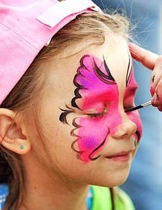 Butterfly face painting - Teagan is asking for a butterfly birthday party so this would be cute to do for the kids at the Ideas Carnival Birthday Parties, Circus Party, Birthday Party Games For Kids, Birthday Ideas, Butterfly Birthday Party, Girl Birthday, Happy Birthday, Butterfly Face Paint, Pink Butterfly