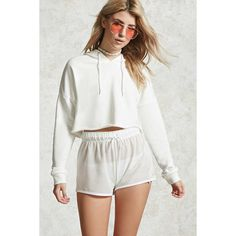 Forever21 Raw-Cut Hoodie ($15) ❤ liked on Polyvore featuring tops, hoodies, white, white hoodie, cropped hooded sweatshirt, forever 21 hoodie, cropped hoodies and hoodie crop top