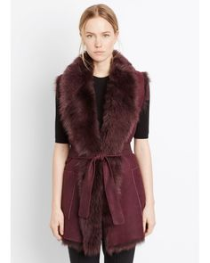 Vince | Red Reversible Shearling Vest With Belt | Lyst