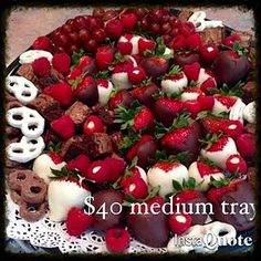 Great for Valentines Day!  Chocolate Tray with dipped strawberries, chocolate chunk brownies, stuffed raspberries, chocolate pretzels