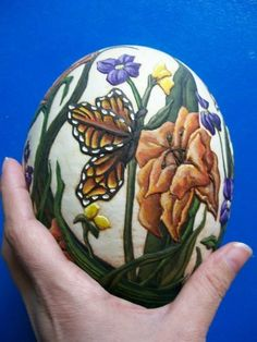 Ostrich Egg carved and painted by Kimberley Cameron