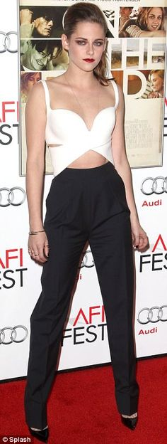 "Kristen Stewart in a monochrome cut-out Balenciaga by Nicolas Ghesquiere jumpsuit. ""On the Road""-AFI Fest Premiere"