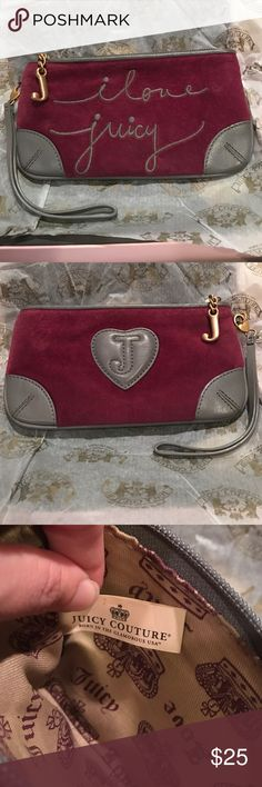 Juicy couture wristlet 7.5x4.5 juicy wristlet in good condition. Grey and maroon. Comes in original box. Bags Wallets