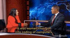 "sweetteascience: "" "" Watch The Founder of Girls Who Code Perfectly School Trevor Noah On Why Culture Makes Or Breaks Women In Tech On The Daily Show with Trevor Noah guest Reshma Saujani,. Along The Lines, The Daily Show, Comedy, Coding, Advice, Shit Happens, Life, Tech, Girls"
