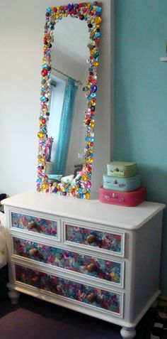 My Decopatch drawers and bejewelled mirror!