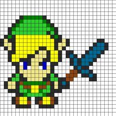Zelda With Sword Perler Bead Pattern | Bead Sprites | Characters Fuse Bead Patterns