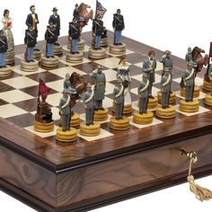 American Civil War Hand Painted Chessmen  Luxury Milano Cabinet Board from Italy >>> Click image to review more details.