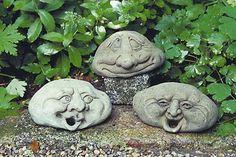 PUSH and choose Stone Sculpture, Garden Sculpture, Paris Crafts, Diy Garden Fountains, Head Planters, Stone Crafts, Wooden Art, Garden Ornaments, Green Man