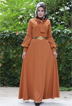 Aysima Balon Kol-Broşlu Elbise-Hardal-5712