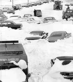 Cars sit stranded and abandoned on South Lake Shore Drive near Roosevelt in Chicago after the city's worst snowstorm in 1967. More than 500 cars littered Lake Shore Drive after the storm.