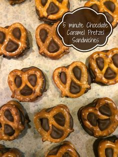 5 minute Chocolate Caramel Pretzel Sandwiches.