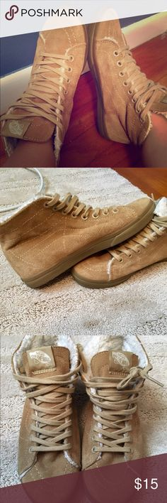 797f62eec20083 Vans Tan Ankle-High Shoes Vans Off the Wall Tan Ankle-High Top shoes