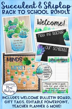 An editable shiplap and succulent themed bundle perfect for back to school night, parent night, back to school, or open house! This bundle includes a welcome bulletin board idea, gift tags for students, an editable powerpoint, a printable teacher planner, and more!