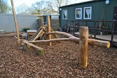 Den-building frames for natural playgrounds